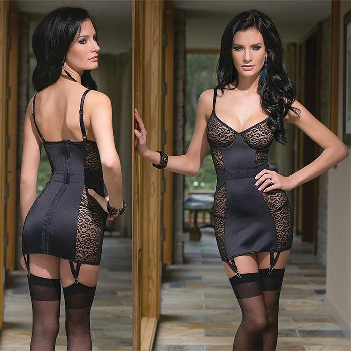 Платье с леопардовыми вставками