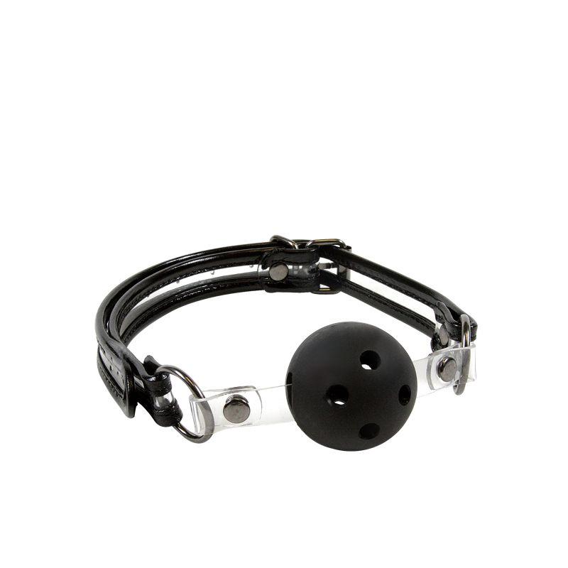 Пластиковый кляп-шар Bare Bondage с отверстиями и прозрачными вставками - фото 317383