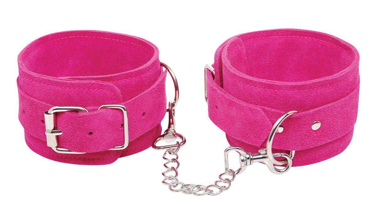 Розовые замшевые наручники Pink Wrist Cuffs - фото 219614