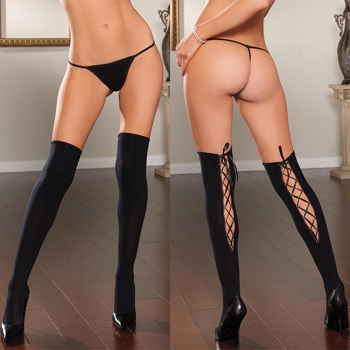Непрозрачные чулки со шнуровкой сзади - фото 294161