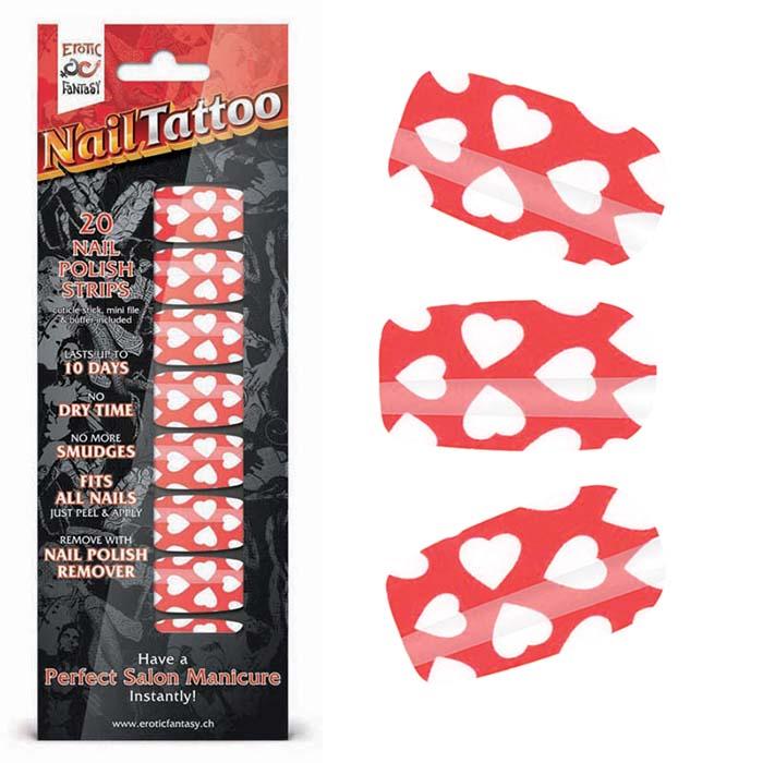 Набор лаковых полосок для ногтей Белые сердца Nail Foil - фото 14557