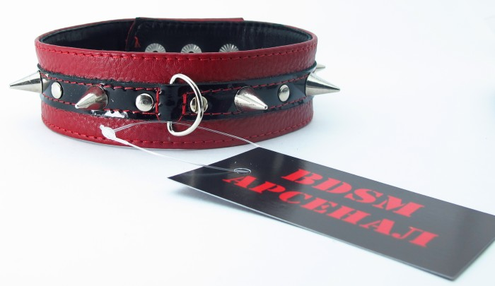 Узкий красно-черный ошейник с  шипами - фото 214850