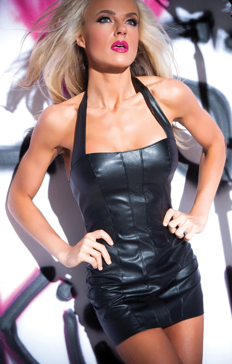 Черное клубное платье из перфорированной кожи