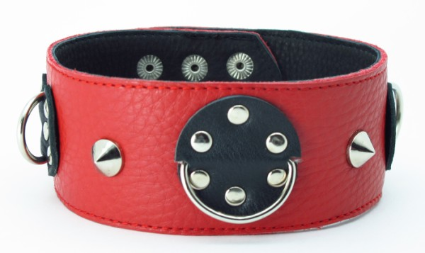 Красно-черный ошейник с шипами  - фото 139571