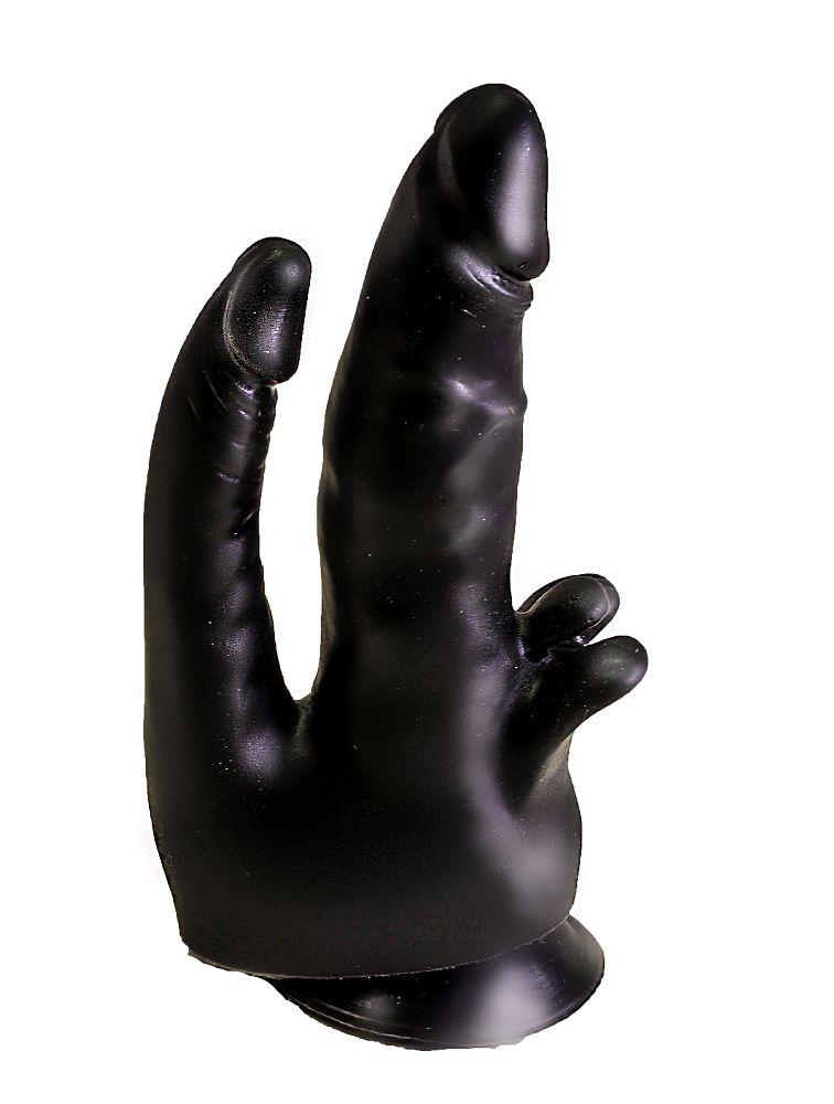Чёрный двойной фаллоимитатор с клиторальными лепестками - 17 см.