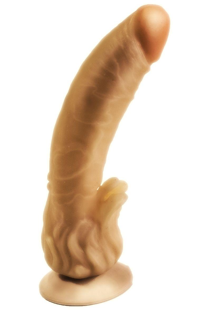 Гелевый фаллоимитатор на присоске с наростами для массажа клитора - 18,5 см. - фото 1655428