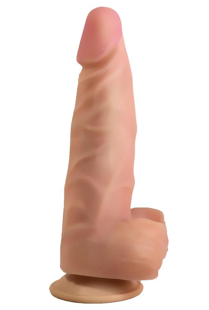 Телесный стимулятор-фаллос на присоске - 18,5 см. - фото 140210