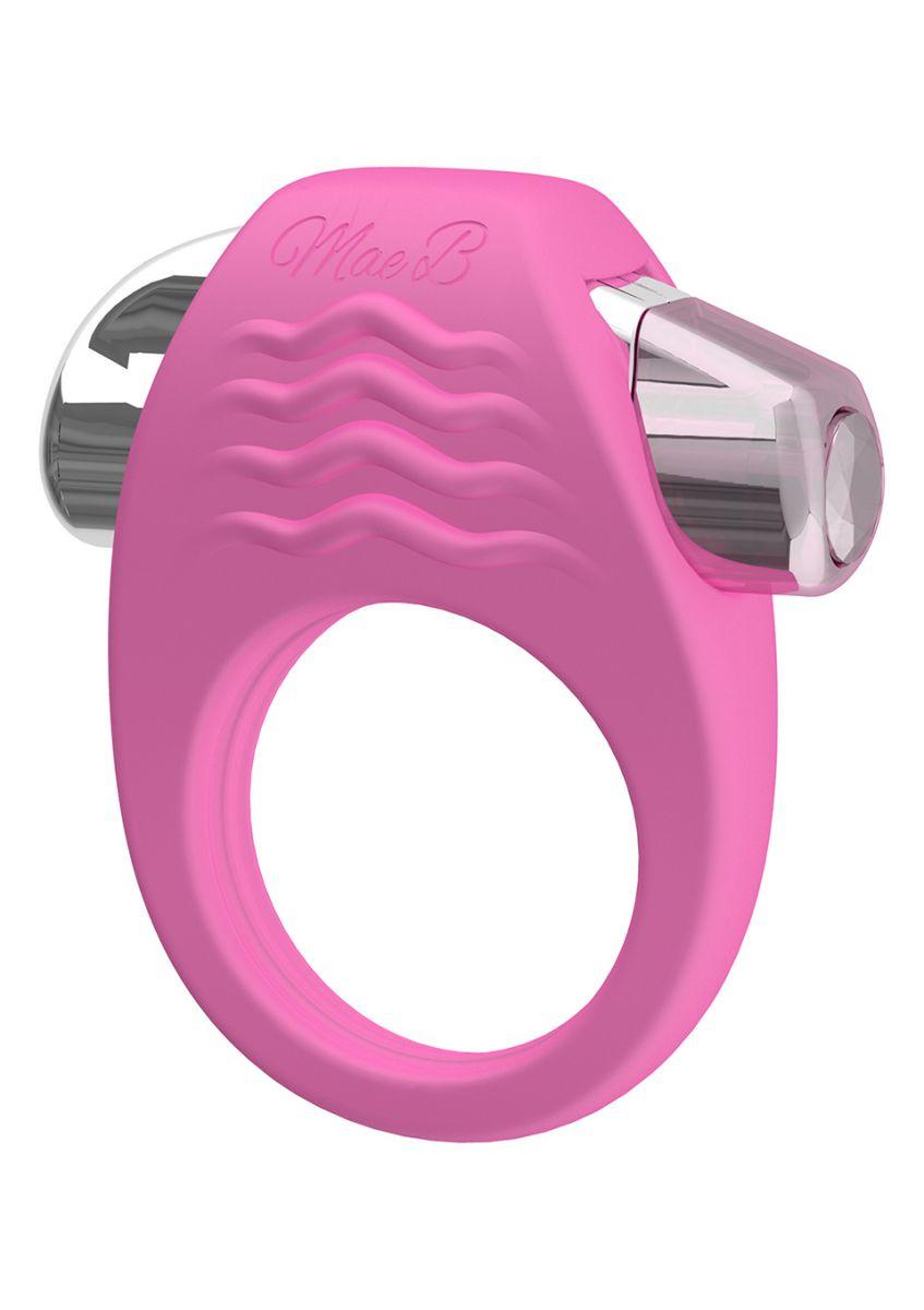 Розовое эрекционное кольцо с вибрацией Stylish Soft Touch C-ring