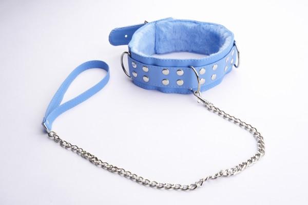Голубой ошейник с меховой подкладкой - фото 140417