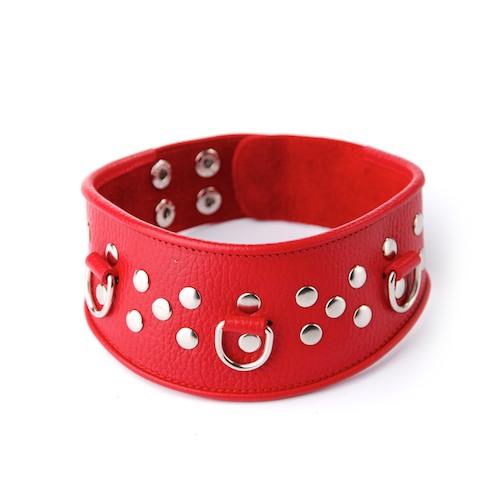 Кожаный красный ошейник с велюровой подкладкой  - фото 125763