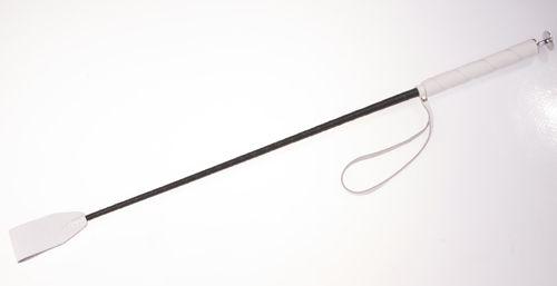 Белый стек с кожаной ручкой - 70 см. - фото 140487