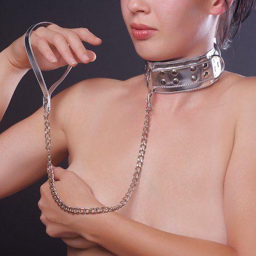 Серебристый ошейник из искусственной кожи - фото 185034