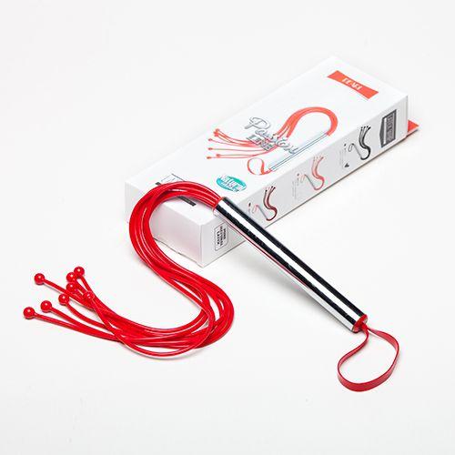 Красная латексная плеть с шариками - 50 см. - фото 140528