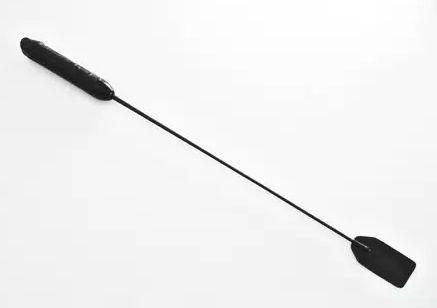 Чёрный стек со шлепком и ручкой-фаллосом - 62 см. - фото 140540