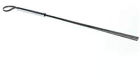 Чёрный стек с серебристой ручкой - 62 см.