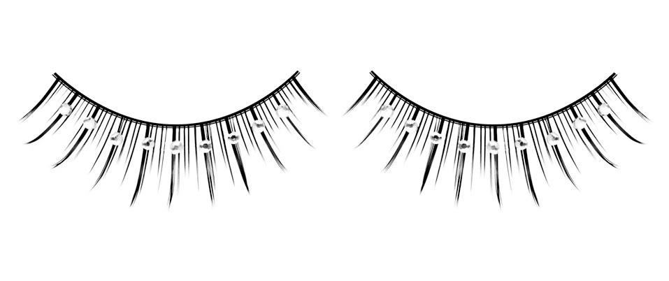 Длинные черные ресницы с серебряными стразами - фото 531954
