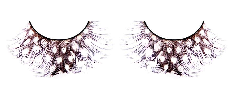 Коричневые ресницы-перья в белый горошек - фото 532038