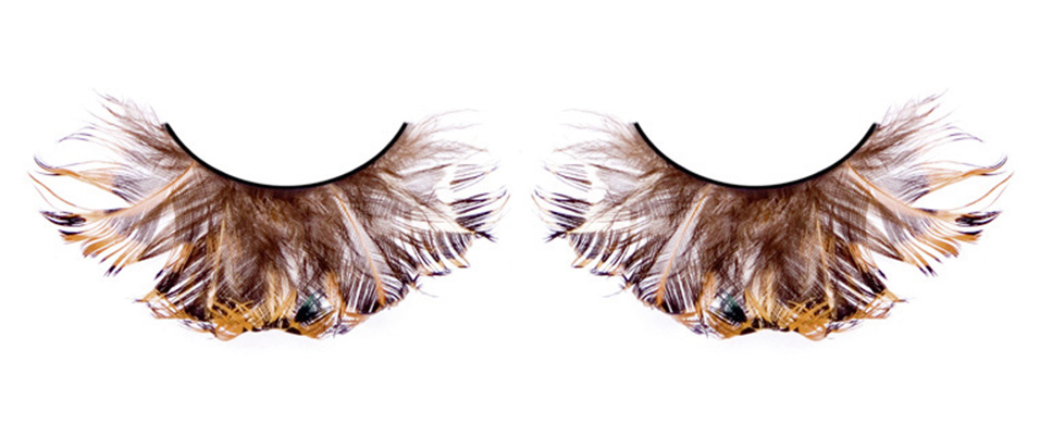 Черно-коричневые ресницы-перья - фото 563055