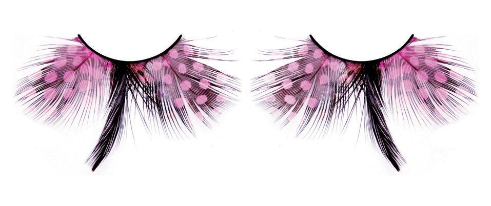 Розово-черные ресницы-перья - фото 532058