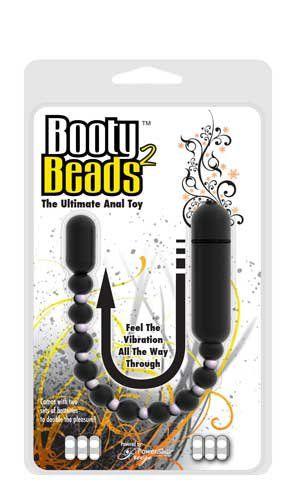 Чёрная анальная виброцепочка Booty Beads - 24 см.