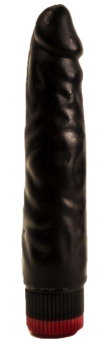 Реалистичный чёрный дилдо с вибрацией - 16,5 см.