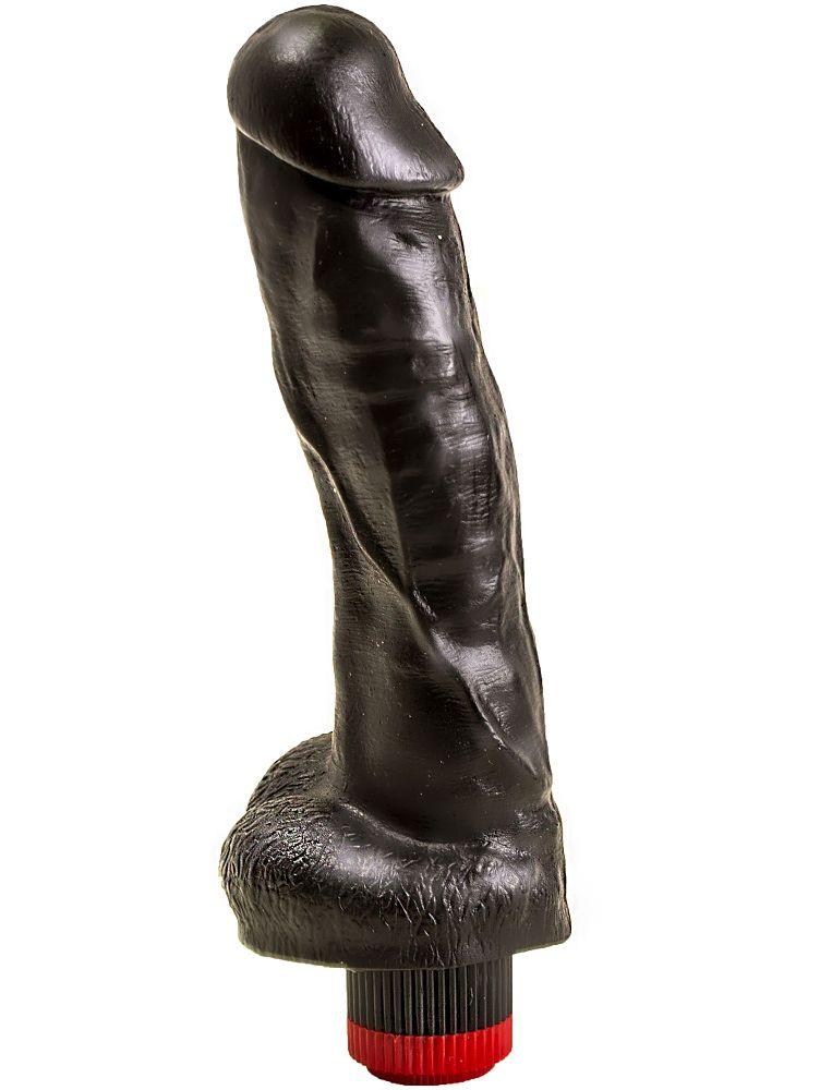 Большой чёрный вибромассажёр в форме фаллоса - 20,5 см. - фото 140743