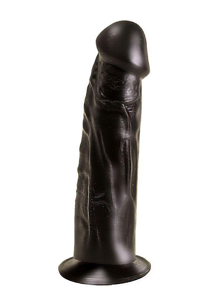 Упругий чёрный фаллоимитатор на подошве-присоске - 18,8 см. - фото 187031