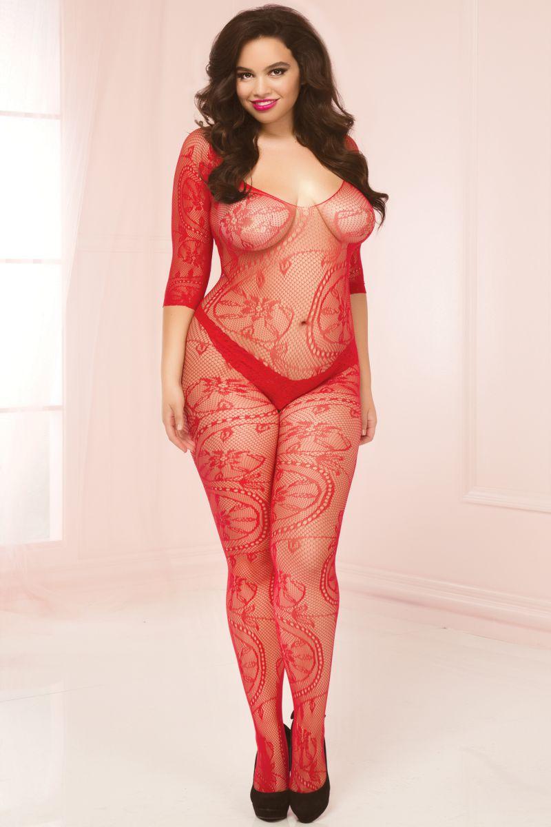 Кэтсьюит open-crotch с необычным цветочным орнаментом большого размера - фото 532236