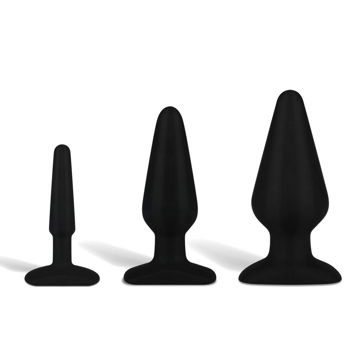 Набор черных анальных плагов из ультрабархатистого силикона