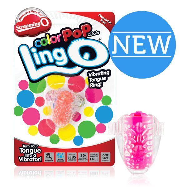 Розовое виброколечко на язык Ling O - фото 246640