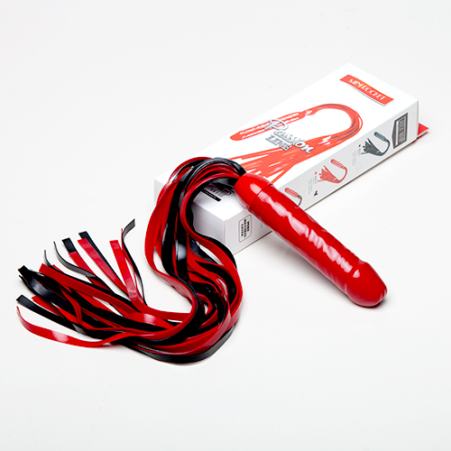 Чёрно-красная латексная плеть  мини-ракета  с ручкой в виде фаллоса - 55 см. - фото 141017