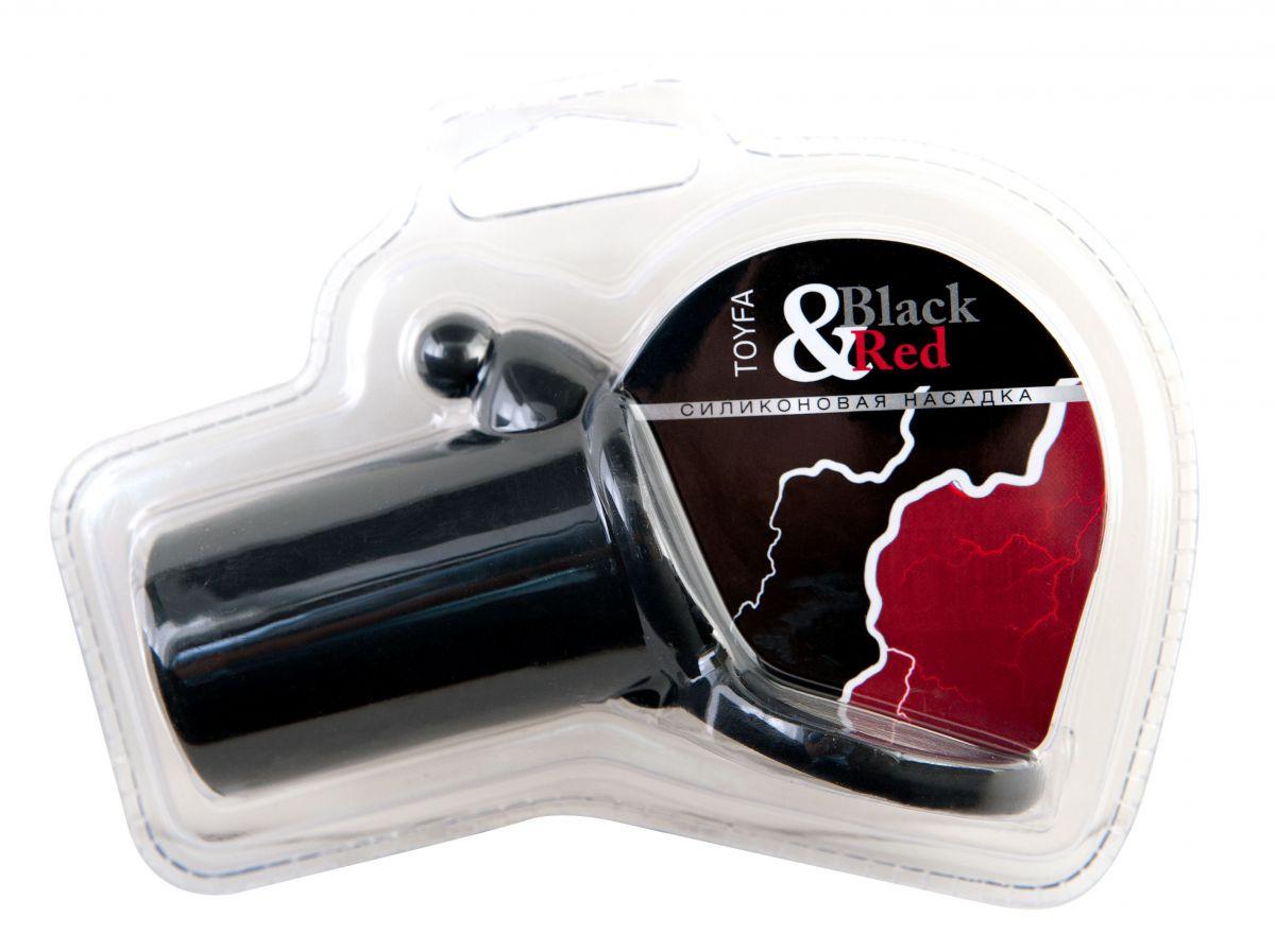Чёрная силиконовая насадка на пенис - фото 1152569
