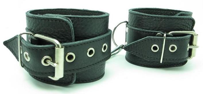 Кожаные наручники с пряжкой - фото 16751