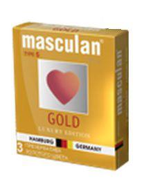Презервативы Masculan Ultra Gold с золотым напылением и ароматом ванили - 3 шт.
