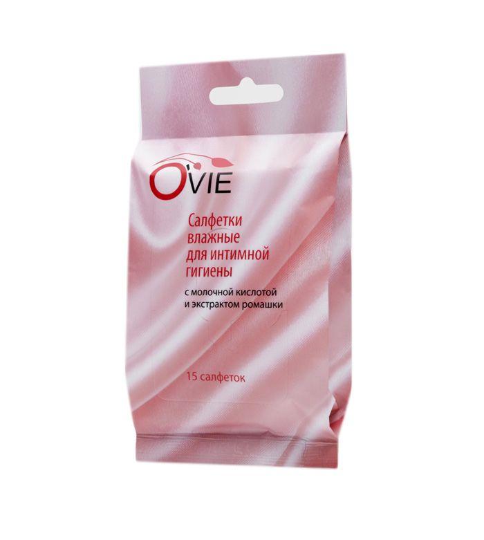 Влажные салфетки с молочной кислотой Ovie для интимной гигиены - 15 шт. - фото 141656