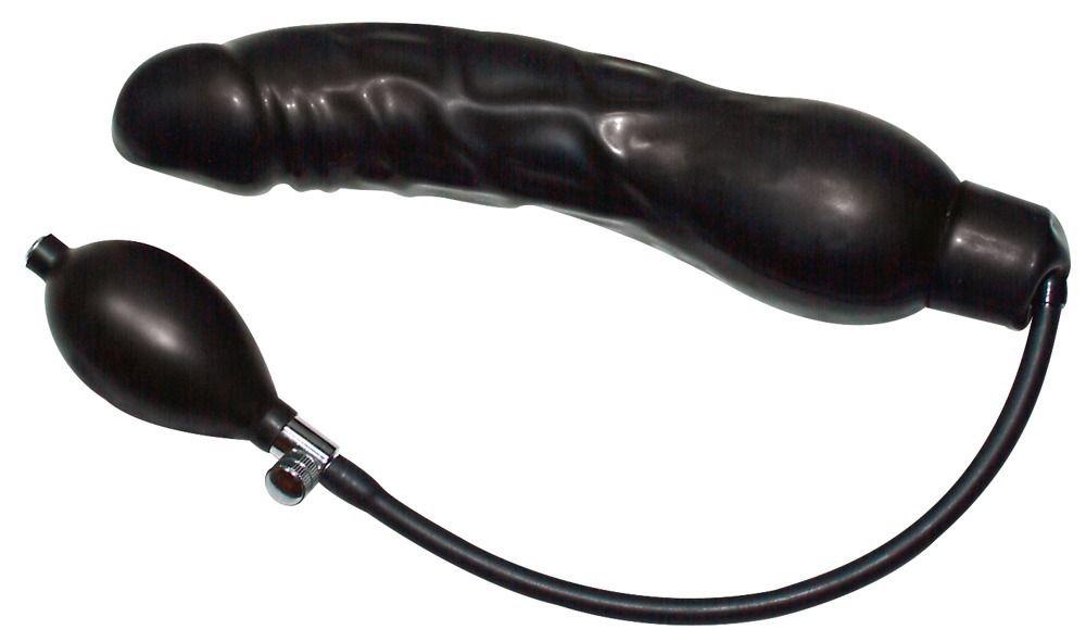 Латексный фаллоимитатор с функцией подкачки Black Latex Balloon - 23 см.