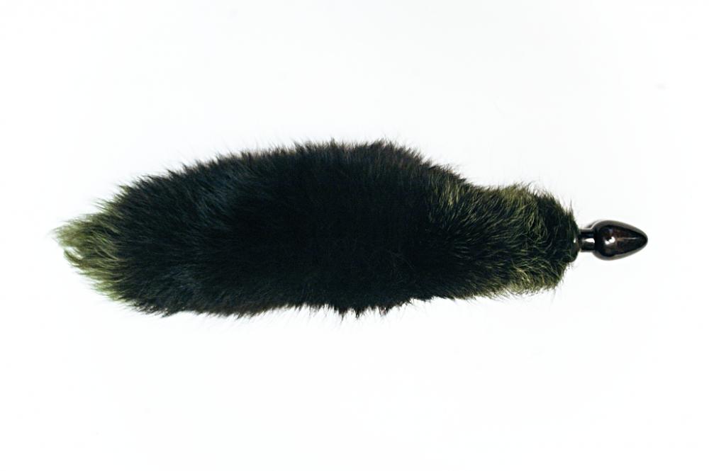 Анальная пробка чёрного цвета с зеленым лисьим хвостом  - фото 141978