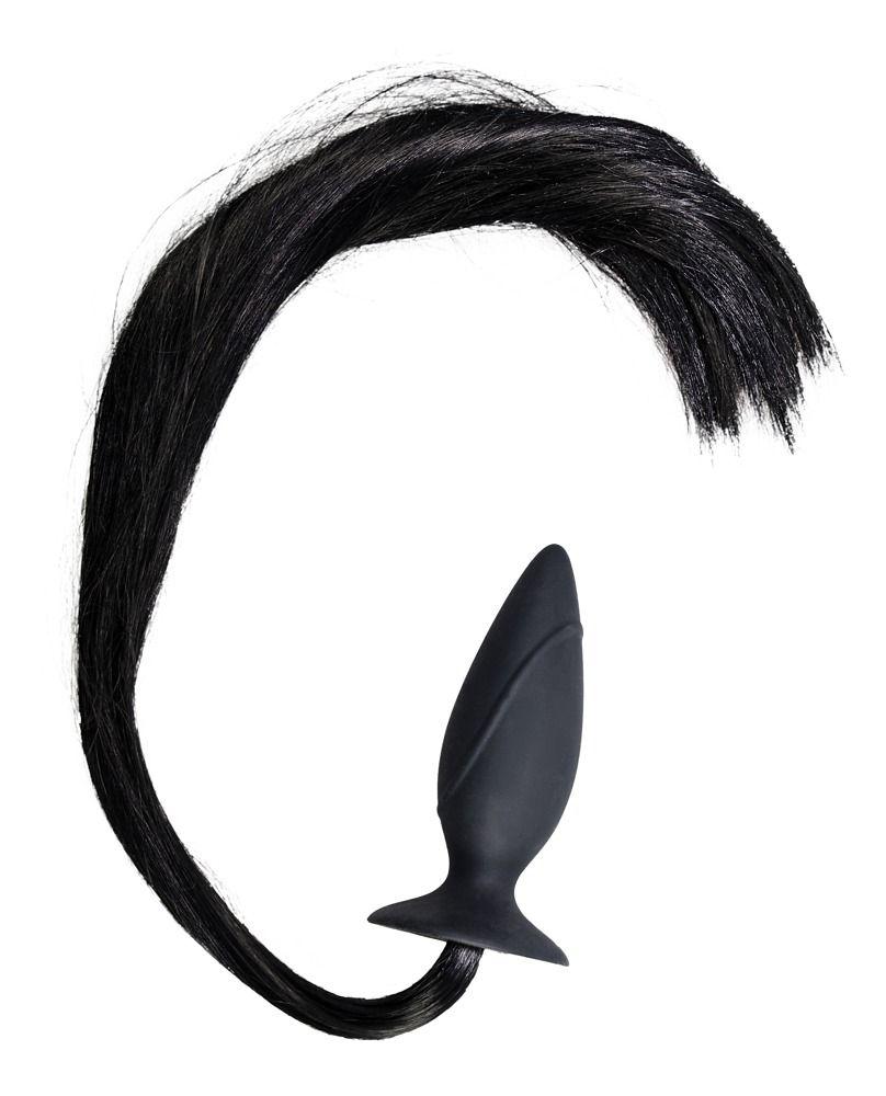 Чёрная анальная втулка с хвостом HORNY Pony - 12,5 см. - фото 142086