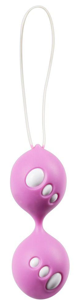 Розовые вагинальные шарики Twin Balls - фото 142239