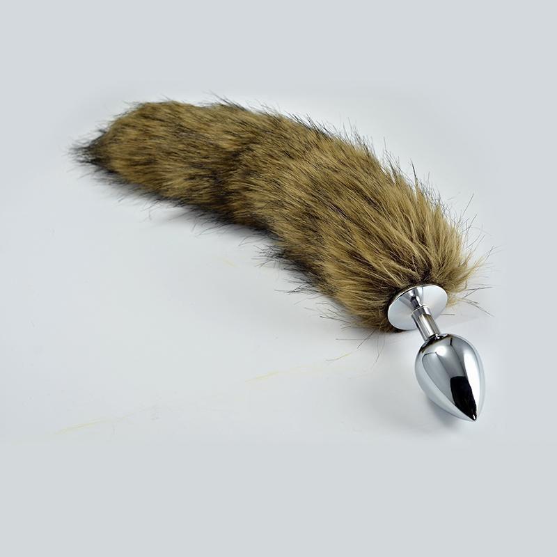 Большая серебристая анальная пробка с коричневым хвостом - 10,1 см.