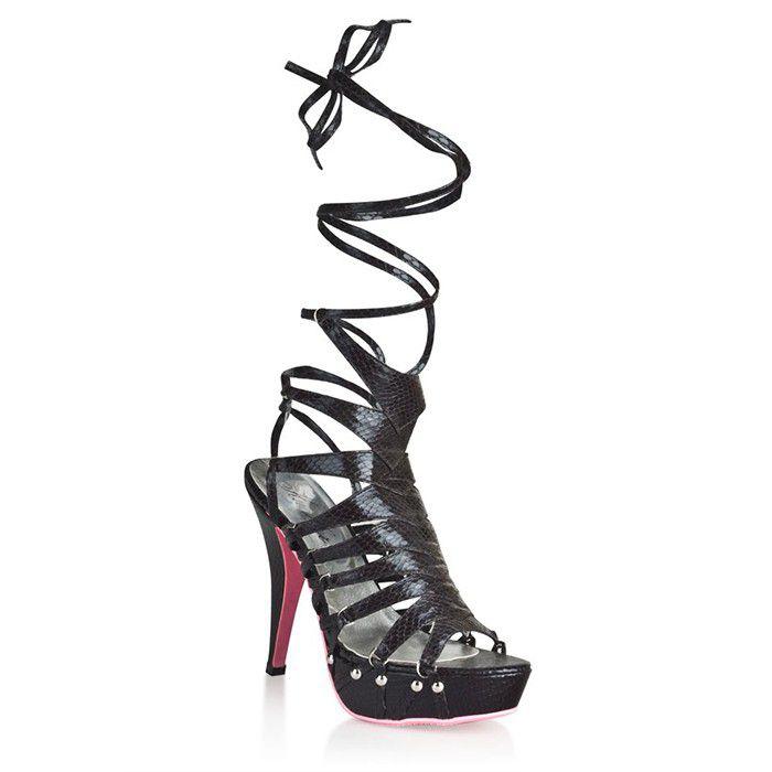 Черные босоножки из искусственной змеиной кожи Snake Style