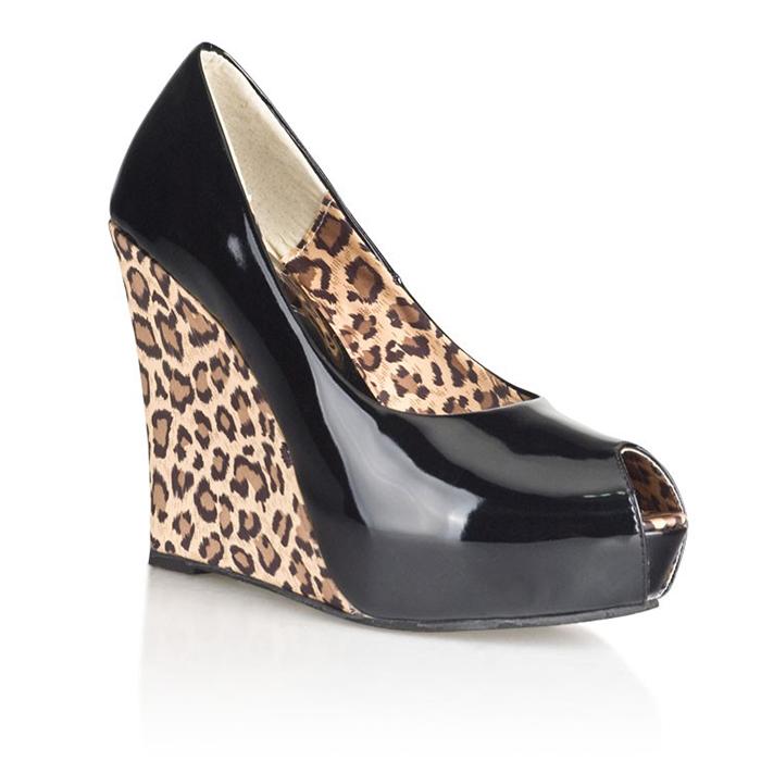 Блестящие туфли с леопардовой танкеткой