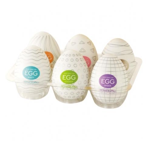Набор из 6 мастурбаторов-яиц Tenga EGG Strong Sensations с различными рельефом - фото 142442