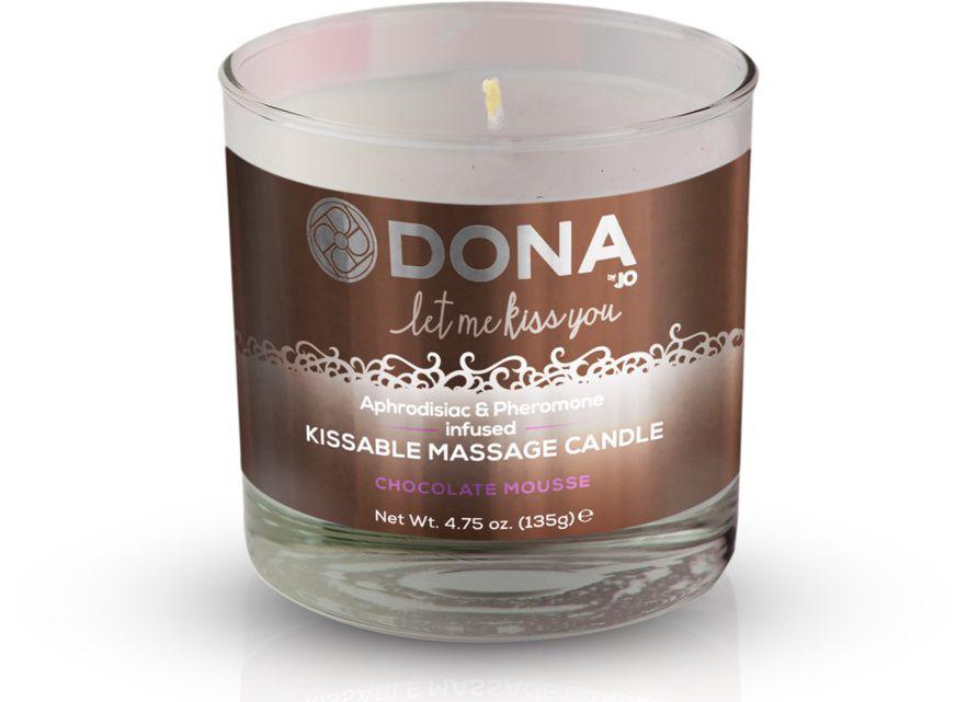 Массажная свеча DONA Chocolate Mousse с ароматом шоколадного мусса - 135 гр. - фото 217895