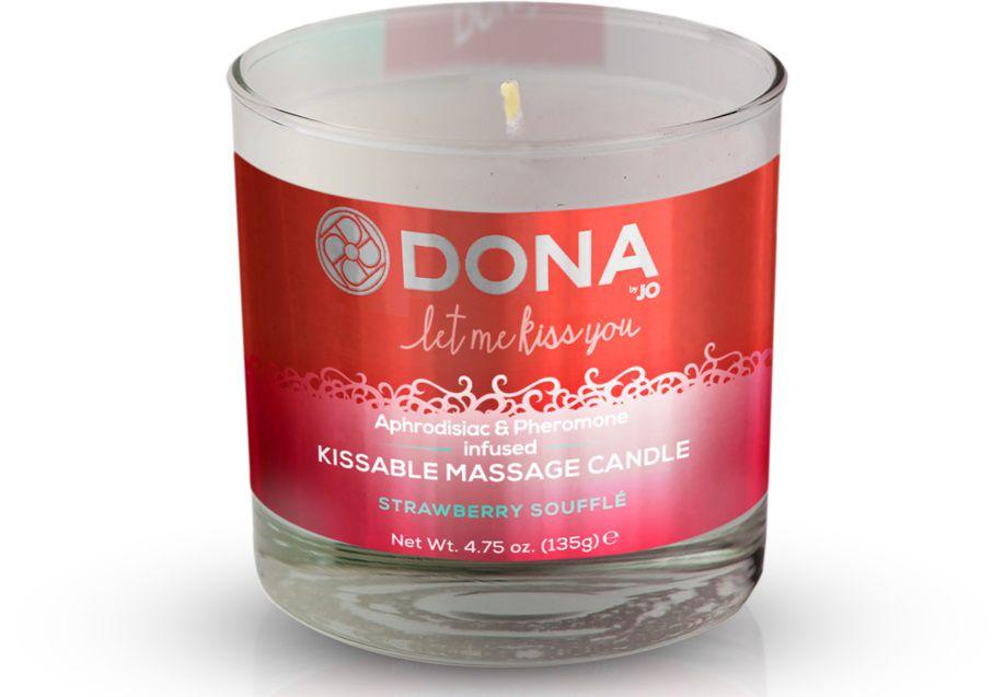 Массажная свеча DONA Strawberry Souffle с ароматом клубничного суфле - 135 гр. - фото 142588