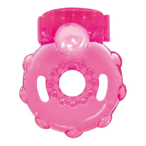 Розовое эрекционное виброкольцо VIBRATING COCK RING OUT OF MIND - фото 533663