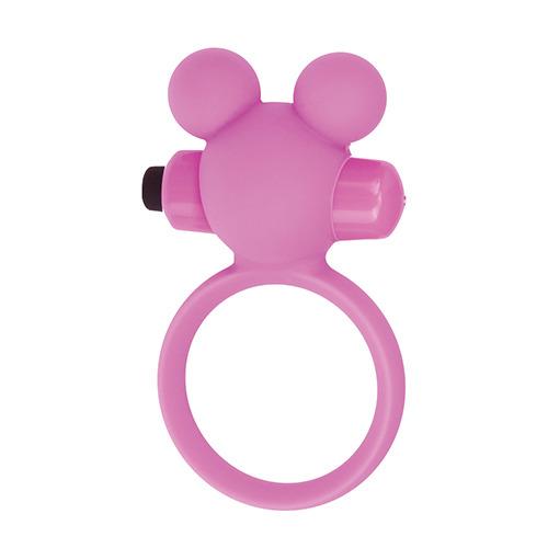 Розовое эрекционное виброкольцо TEDDY COCKRING SILICONE  - фото 142686