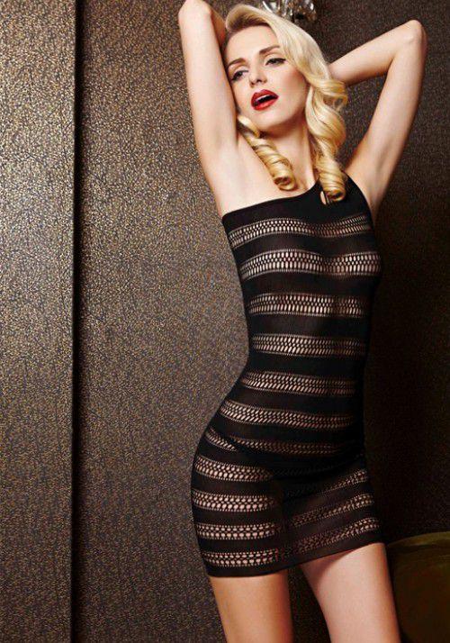 Короткое сетчатое платье в полоску с одной лямкой - фото 533844