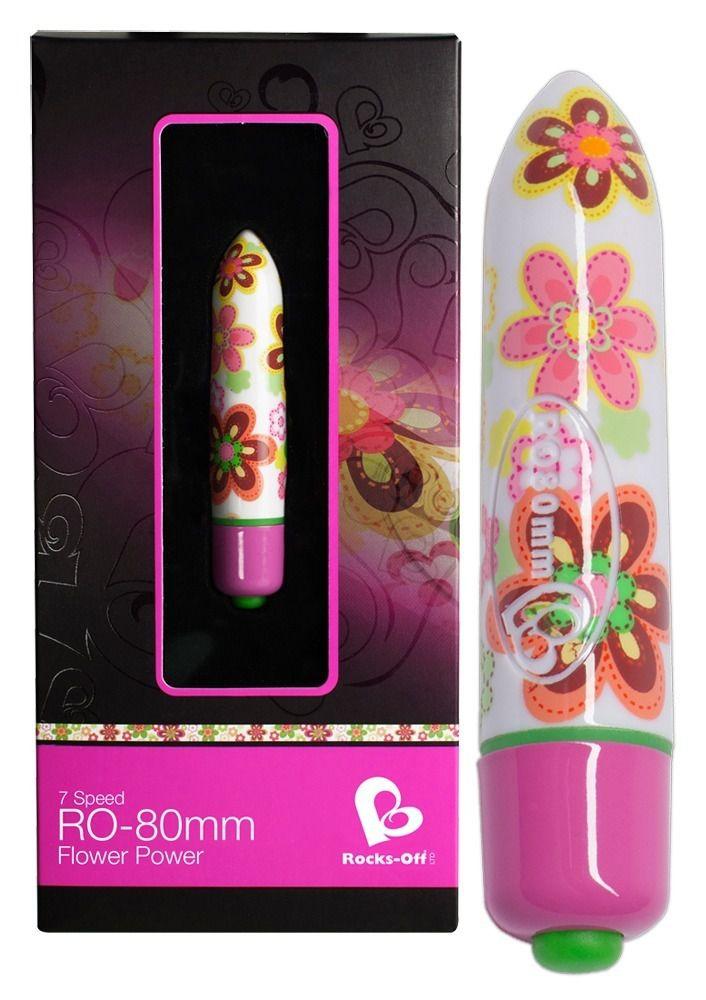 Мини-вибратор Flower Power с цветочным принтом - 8 см.