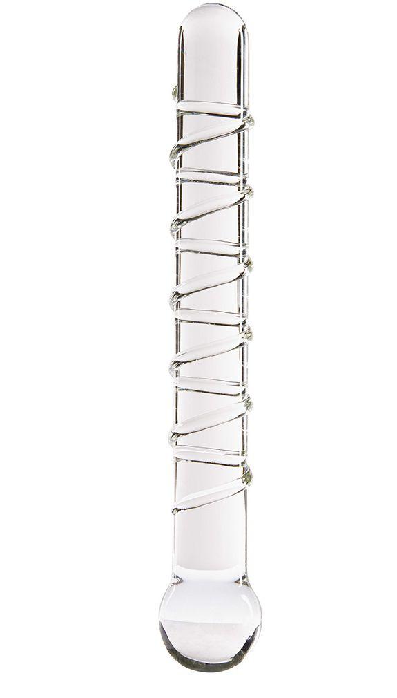 Стеклянный фаллоимитатор GLASS WORXX SPARKLE SCEPTER CLEAR - 17 см.